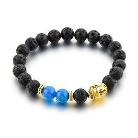 Bracelet bouddha pierre bleue et pierre de lave