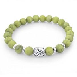 Bracelet pierres naturelles - pierre d'olive- bouddha