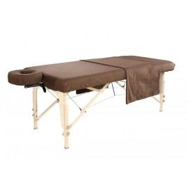 Ensemble en flanelle 3 pièces coton Deluxe pour table de massage- Chocolat