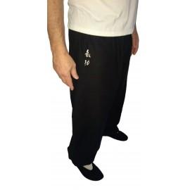 Pantalon avec broderie idéogramme QI GONG