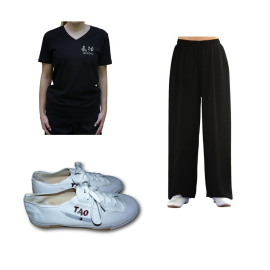 Set pantalon en lin noir + tee-shirt Qi gong noir + chaussures Tao
