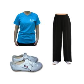 Set pantalon en lin noir + tee-shirt qi gong azur + chaussures TAO
