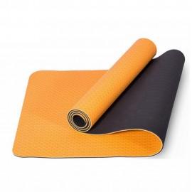 Tapis de yoga antidérapant TPE 183x61x0.5 orange/gris