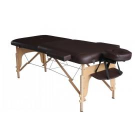 Table de massage en bois pliante à 2 sections chocolat 186x70cm
