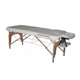 Table de massage en bois pliante à 2 sections blanche 186x71cm